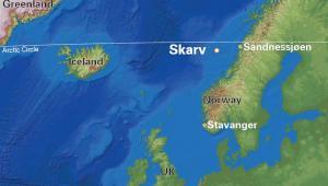 PGNiG SA rozpoczęło wydobycie złoża Skarv na Norweskim Szelfie Kontynentalnym - mapa