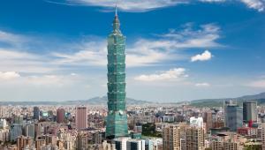 Taipei, Tajwan. Panorama miasta z jednym znajwyższym wieżowców na świecie Taipei 101