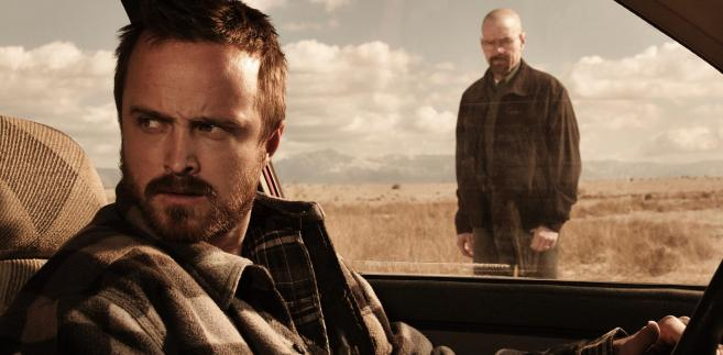 "Bryan Cranston i  Aaron Paul w serialu ""Breaking Bad"""