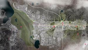 Wizualizacja nowego centrum Kiruny z lotu ptaka, źródło: White architects