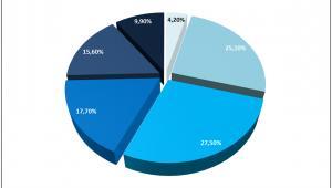 Rozkład liczby nowych kredytów hipotecznych według wieku dłużnika
