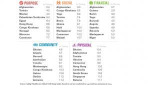 Global Well-Being Index 2014: 10 krajów z najniższą oceną w poszczególnych kategoriach