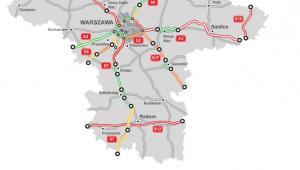 Mapa budowy dróg - woj. mazowieckie, źródło: GDDKiA