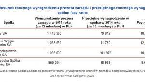 Stosunek rocznego wynagrodzenia prezesa zarządu i przeciętnego rocznego wynagrodzenia w spółce (pay ratio)