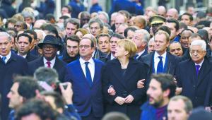 Kiedy dochodzi do zamachu w Europie, politycy potrafią się zjednoczyć, ale tylko pozornie. Kiedy giną ludzie na Bliskim Wschodzie, mało kogo to interesuje. Paryż 11 stycznia 2015 r. AFP/EAST NEWS