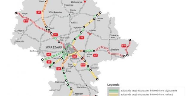 Mapa stanu budowy dróg - mazowieckie, źródło: GDDKiA