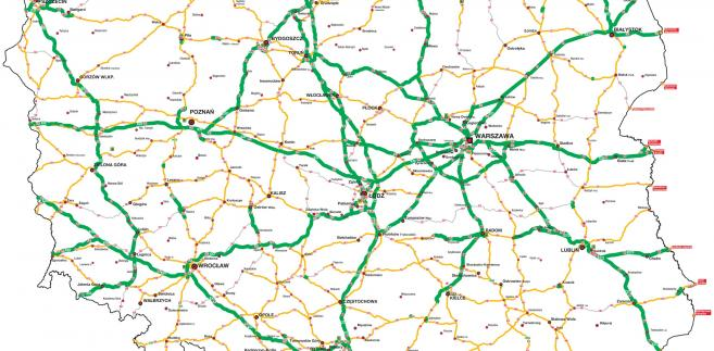 Mapa Polski z drogami o nośnosci 11,5 tony