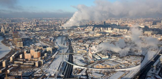 Panorama Moskwy z OKO Tower, Rosja, 15.12.2016