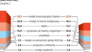 Spada odsetek Polaków zadłużonych w bankach i u rodziny
