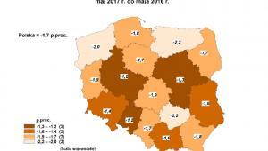 Zmiany stopy bezrobocia - maj 2017 - mapa, źródło: GUS