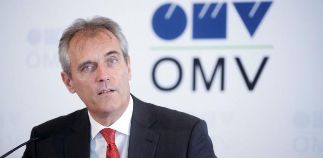 Rainer Seele, dyrektor austriackiej spółki paliwowej OMV, w czasie konfrencji prasowej w Wiedniu, 10.08.2016