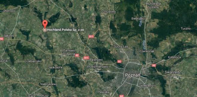 Zakłady Hochland w Kaźmierzu pod Poznaniem, źródło: Google Maps