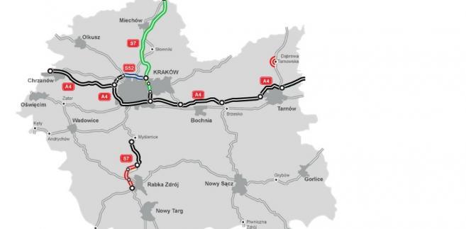 Małopolskie - mapa stanu budowy dróg, źródło GDDKiA