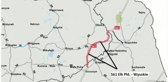 Budowa trasy S61. Źródło: GDDKiA