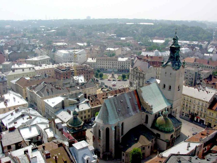 Lwów - panorama, widok na Katedrę Łacińską, Ukraina