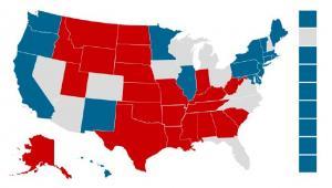Bastiony – Obama bierze wybrzeża (kolor niebieski), Romney stany środkowe (kolor czerwony), źródło: XTB