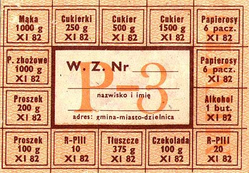 Kartka na zakupy z czasów PRL