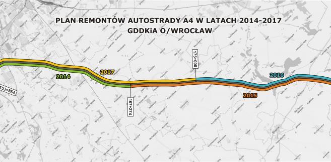 Plan remontów na A4 na odcinku GDDKiA