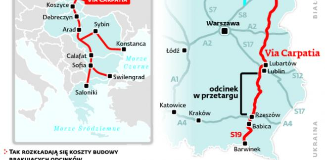 Planowane Via Carpatia i Via Baltica połączą trzy morza