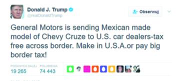 """""""General Motors wstawia do salonów modele Chevroleta Cruze wyprodukowane w Meksyku i sprowadzone do USA bez płacenia podatków. Produkujcie w Stanach albo zapłaćcie wysokie cło!"""""""