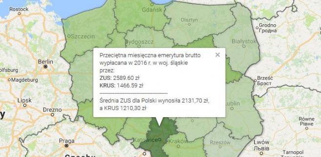 Średnia emerytura w Polsce 2016 r.