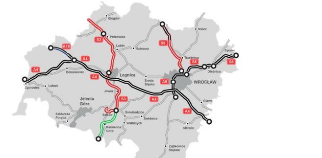 Mapa stanu budowy dróg - dolnośląskie, GDDKiA
