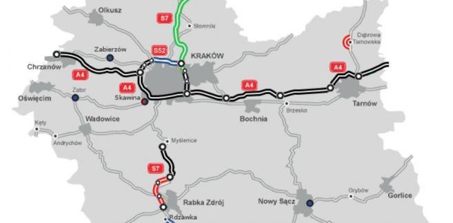 Stan budowy dróg w woj. małopolskim. Źródło: GDDKiA