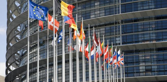 Flagi przed europarlamentem