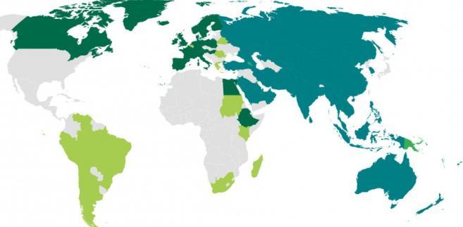 Azjatycki Bank Inwestycji Infrastrukturalnych (AIIB)  Kolorem ciemnozielonym na terenie Azji i Oceanii zaznaczono obecnych członków AIIB. Kolorem jaśniejszym na terenie Azji i Oceanii państwa, które mogą zostać w przyszłości członkami AIIB. Kolorem ciemnozielonym w Europie, Afryce i obu Amerykach zaznaczono pozaregionalnych członków AIIB. Kolorem jasnozielonym w Europie, Afryce i obu Amerykach oznaczono państwa spoza Azji, które mogą stać się członkami AIIB. Dane z maja 2018. Źródło: http://www.aiib.org