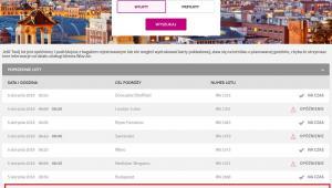 Informacja o odlotach na stronie WizzAir 5.08.2018 (zrzut ekranu z godziny 14:43)
