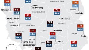 Najbardziej zanieczyszczone miasta w poszczególnych województwach pod względem poziomów PM10 (2017 rok); źródło: NIK