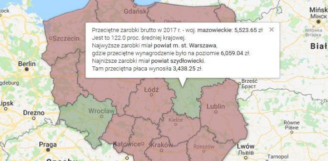 Wynagrodzenia - najlepsze i najgorsze powiaty w woj.