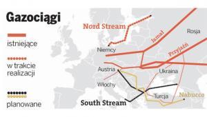Istniejące gazociągi w Europie oraz planowany South Stream i Nord Stream jeszcze w budowie. Dzisiaj Spółka Nord Stream poinformowała o ukończeniu drugiej nitki Gazociągu Północnego.