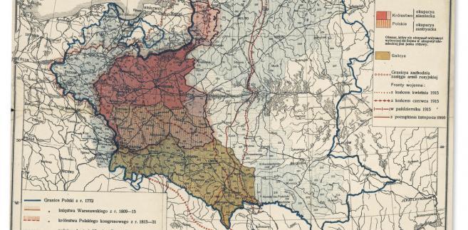 Mapa ziem polskich stworzona przez wybitnego kartografa Eugeniusza Romera ok. 1916 r. fot. mat. prasowe
