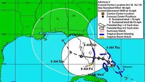 Mapa huraganu Katrina, lato 2005 r. źródło: NOAA via Bloomberg News